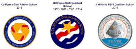 Andersen s California Golden Bell 2016 and California Distinguished School 1987  - 2002 - 2008 - 2014 and PBIS School 2016 logos